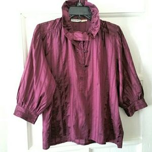 Vtg. Burgundy SILK Blouse